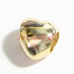 Gold Plated 925 Sterling Silver silver Puff Heart Bead 10mm for European Charm Bracelets