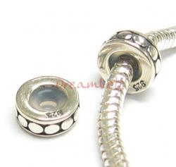 Sterling Silver STOPPER WITH RUBBER CIRCLE DOT ROUND for European Charm Bracelets Bead