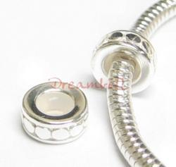 Sterling Silver STOPPER WITH RUBBER CIRCLE DOT ROUND Bead for European Charm Bracelets 8.3mm