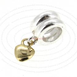 14K Gold plated 925 Sterling Silver w/ SWEET HEART dangle for European Charm Bracelets
