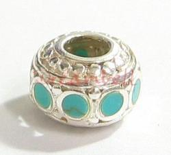 Sterling silver Bead with TURQUOISE stone for European Charm Bracelets