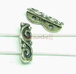 2x  Sterling silver  2 Strand Flower bead spacer 12mm