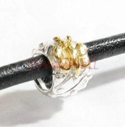 Gold 925 Sterling Silver Butterfly Dots Bead Tube for European Charm Bracelets