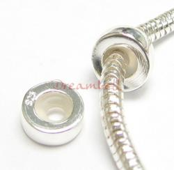 Sterling Silver STOPPER WITH RUBBER Round Bead for European Charm Bracelets