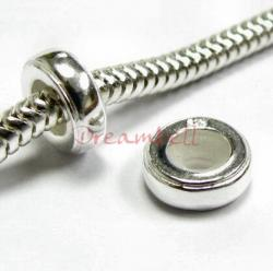 Sterling Silver Round STOPPER WITH RUBBER Bead for European Charm Bracelets 8.2mm