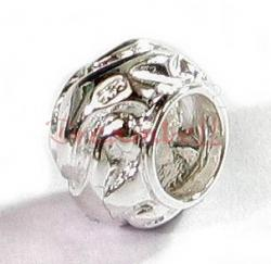 Sterling silver SWIRL Round Bead for European Charm Bracelets 9mm
