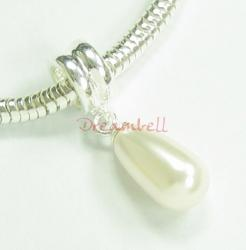 1x Sterling Silver White Pearl Pendant Bead for European Charm Bracelets Using Swarovski Elements Crystal Pearl