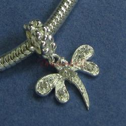 Sterling Silver Dragonfly CZ Crystal Dangle Bead for European Charm Bracelets