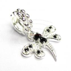 Sterling Silver Dragonfly CZ Jet Black Crystal Dangle Bead for European Charm Bracelets