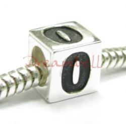 "Sterling Silver Dice Cube Digit "" Bead Tube for European Charm Bracelets"