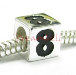"Sterling Silver Dice Cube Digit 8"" Bead Tube for European Charm Bracelets"