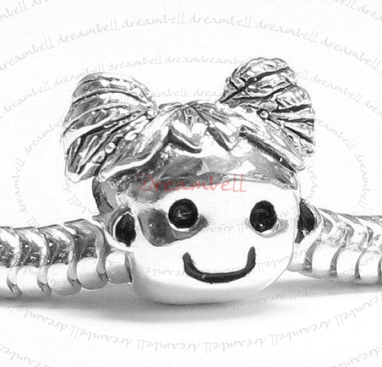 Sterling Silver Cute Happy Baby Girl KID / Daughter w/ Smile Face Family Bead for European Charm Bracelet