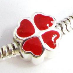 STERLING Silver RED Enamel Four Leaf Clover HEART  Enamel bead for European Charm Bracelets