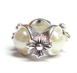Sterling Silver Round FLOWER Bead w/ Pearl for European Charm Bracelets