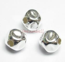 2x Sterling Silver Dented Hammered Bead Spacer 8mm