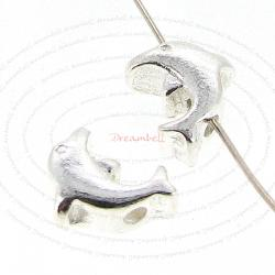 4x Sterling Silver Dolphin Beads spacer 8mm x 6mm