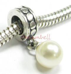 Sterling Silver Swarovski Creamrose Light Pearl Pendant Bead for European Charm Bracelets