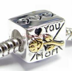 14k Gold 925 Sterling Silver Mother MOM Rose Love Mail BOX F/ European Bead Charm Bracelet