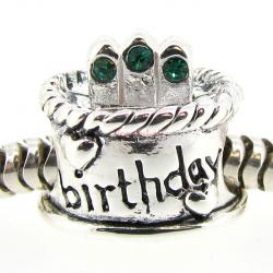 Sterling Silver Birthday Cake w/ Emerald CZ Crystal Birthstone Bead for European Charm Bracelets May