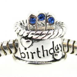Sterling Silver Birthday Cake w/ Sapphire CZ Crystal Birthstone Bead for European Charm Bracelets September