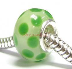 Sterling Silver Round Wheel Murano GREEN Glass DOTS Bead for European Charm Bracelets 12.5mm
