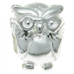 Sterling Silver OWL BIRD Bead for European Charm Bracelets 13mm
