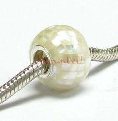 Sterling Silver Mosaic Mother of Pearl MOP Bead for European Charm Bracelets/