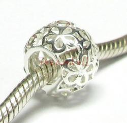 Sterling Silver Daisy flower Beads for European Bead charm Bracelet