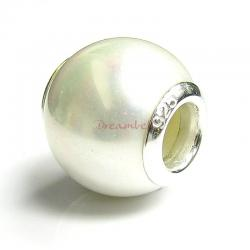 Sterling Silver White Seashell PEARL BEAD for European Charm Bracelets