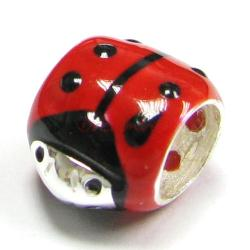 Sterling Silver Ladybug Bug Jet Black Enamel Bead Tube for European Charm Bracelets