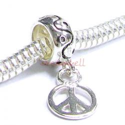 Sterling Silver Round bead PEACE Dangle Bead for European Charm Bracelets