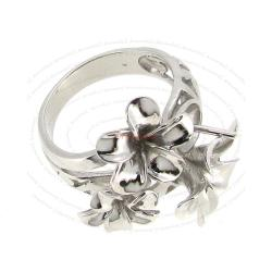 Rhodium plated Sterling Silver Ring case with 6.8mm cup pearl connector 4 Flowers