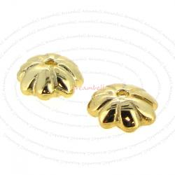 4X 14K Gold plated over Sterling silver Flower caps Bead 5.2mm