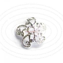 6x Bright Sterling Silver FILIGREE Flower Bead Cap 7mm