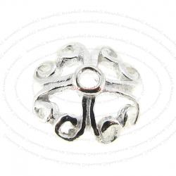 6x Sterling Silver Heart Filigree Cap 6.5mm
