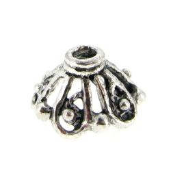 4x BALI STERLING SILVER FILIGREE BEAD Round CAPs 8.5mm