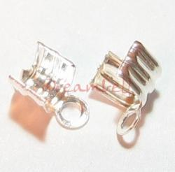 8xSterling SILVER LEATHER STRING CLIP CORD END CRIMP CAP