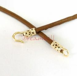 14K Real Gold plated over Sterling SILVER CRIMP BEADS 3MM CORD