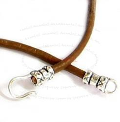 Sterling Silver End Hook & Eye For 2mm Leather Bead Cord