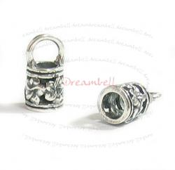 2 x STERLING SILVER FLOWER Bead 4mm LEATHER Cord END CAP