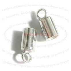 2 x  STERLING SILVER Bead END CAP for 3mm LEATHER Cord