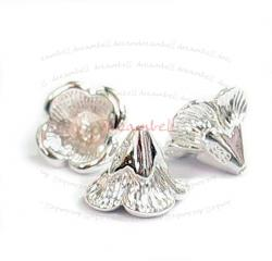2x Sterling Silver Bead Flower Cone Cap 6.5m x 9mm