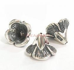 2x Antique Sterling Silver Bead Flower Cone Cap 6.5m x 9mm