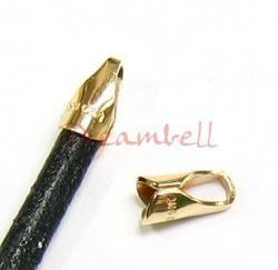 4x 14K Gold Filled 4mm ROUND LEATHER Cord END CAP