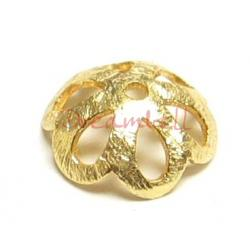 4x 22K Gold plated over Sterling Silver Bead FLOWER Cap 10mm