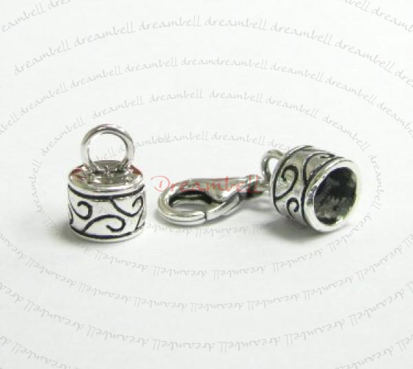 1 x STERLING SILVER Bead 5mm LEATHER Cord END CAP with 11mm Lobster Clasp