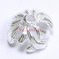 2x STERLING SILVER LEAF FLOWER Bead cap 11mm