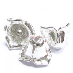 2x STERLING SILVER Rose Flower Bead cap 8mm