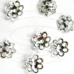 10 Bali Sterling silver Round Flower caps Bead 5mm