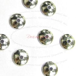 10x STERLING SILVER Round Bead cap 4mm